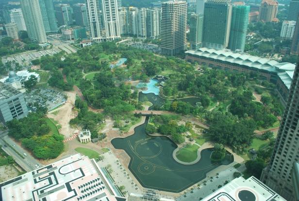 Widok na park z góry