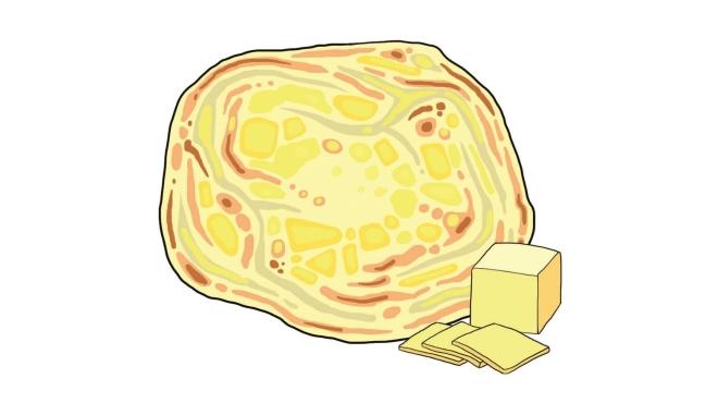 Roti cheese, mój ulubiony placek z plasterkiem żołtego sera w środku. Ser się rozpuszcza i środek placka robi się bardziej miękki i puszysty. Do tego curry. Cena: 1.5-3RM