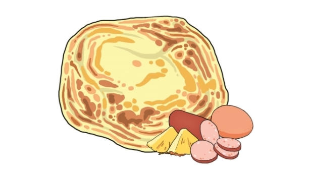 Roti hawaii, czyli prawie jak pizza hawajska. W środku roti są kawałki ananasa, jajko i mięso mielone (z kurczaka lub wołowiny). Do tego curry. Cena: 5-7RM